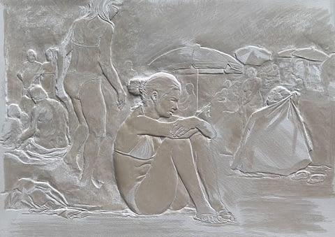 Peter Niedertscheider, Badestrand (Solnhofer), 14 x 19 cm, 2017